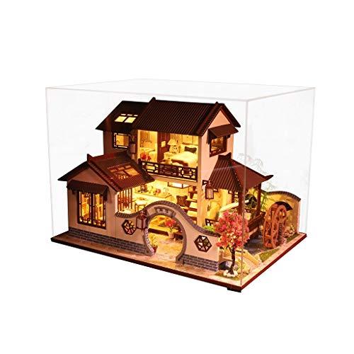 Luccase 3D Hölzernes Puppenhaus Spielzeug DIY Alte Stadt Miniatur Modell Weihnachts Geschenke Spielzeug DIY Handgemachtes Gebäudemodell Spielzeug für Jungen und Mädchen, 28x20.8x21cm (B)