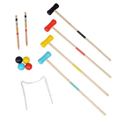 Ocean 5 Krocket Set – Outdoor Croquet Gartenspiel, Das Geschicklichkeitsspiel aus Holz, für Kinder und Erwachsene, für 2-4 Spieler
