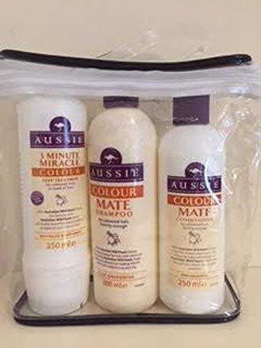 Aussie Colur Mate Ensemble cadeau Shampooing 300 ml + après-shampoing 250 ml + 3 Minute Miracle Couleur Deep Treatment 250 ml