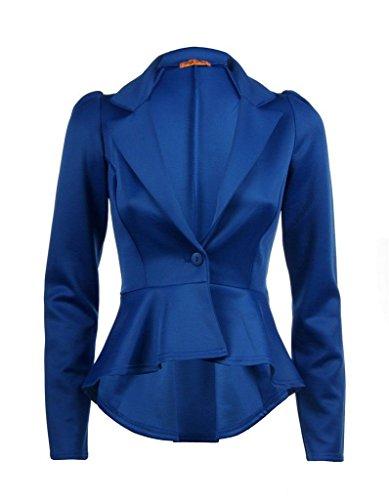 Damen Uni Plissee Schößchen Rüschen Blazer Jacke Größe 8–14 Gr. 40, königsblau (Plissee-rüschen-jacke)