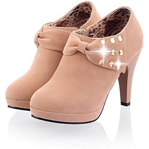 Minetom Mujer Botines Otoño Invierno Botas Del Bowknot Zapatos De Las Bombas Tacón Desnudo Delgado