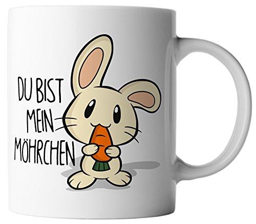 vanVerden Tasse Ostern Süßer Hase Du bist mein Möhrchen inkl. Geschenkkarte, Farbe:Weiß/Bunt