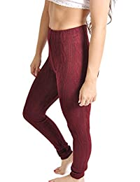 Ladies Long Cable Knit Leggings - Available in SEVEN Colours