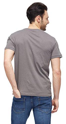 TOM TAILOR Herren T-Shirt Tee with Print Technique Mix tornado grey