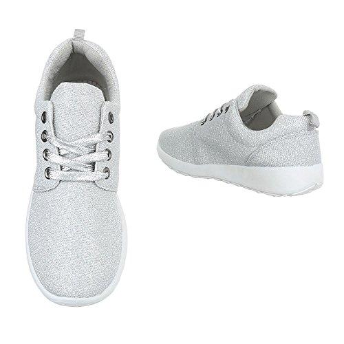 Freizeit Turnschuhe/Sneakers Kinderschuhe Low-Top Mädchen Schnürsenkel Ital-Design Freizeitschuhe Silber