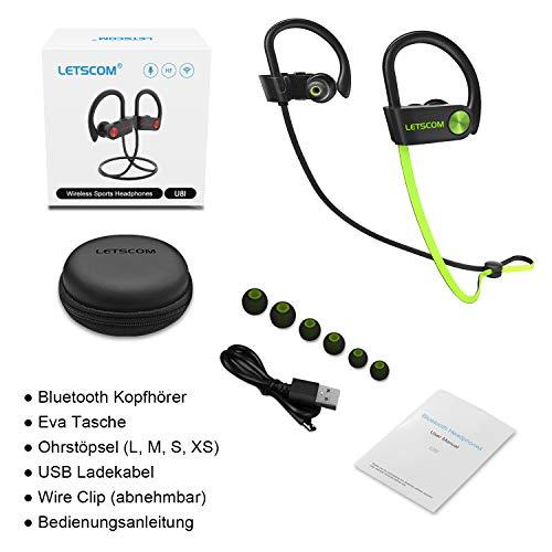 LETSCOM Bluetooth Kopfhörer in Ear IPX7 wasserdicht kabellos Sport-Kopfhörer Bluetooth 4.1 HiFi-Bass Stereo schweißfest mit Mikrofon Geräuschunterdrückung Headset für Laufen Fitnessstudio MEHRWEG Bild 5*