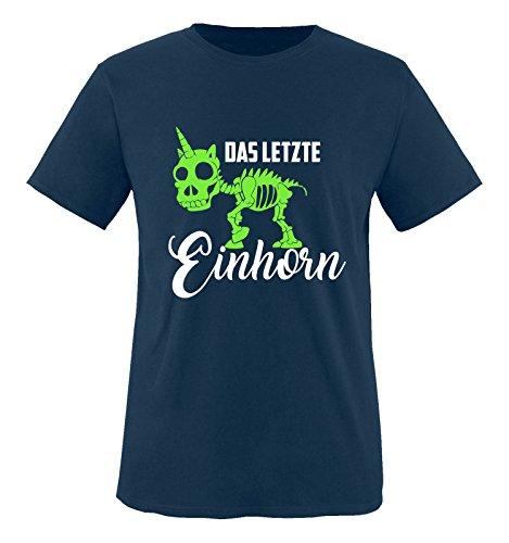 Comedy Shirts - Das letzte Einhorn - Skelette - Jungen T-Shirt - Navy/Weiss-Neongrün Gr. 152/164 (Skelett Pullover Für Jungen)