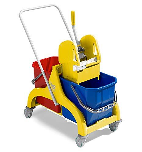 Carrello doppia vasca nick giallo lt. 50 con manico + strizzatore - tts 6085 secchio lava pavimenti professionale industriale