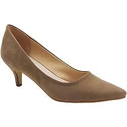 Greatonu Zapatos de Tacón Beiges Estilos de Europa Casuales Cómodos para Mujer Tamaño 39 EU
