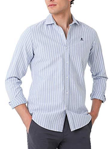 Scalpers Camisa Sport ELISEE Calavera Pecho - Skyblue/White