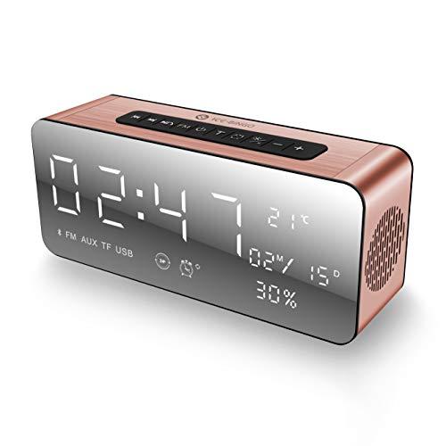 ICE-BINGO Altavoz Bluetooth, Bluetooth inalámbrico 4.2 Altavoces con reloj, FM y Bold Bass, manos libres, 12H tiempo de juego para Echo Dot, iPhone, iPad, Samsung, tableta, Ideas de regalos (Rosa)