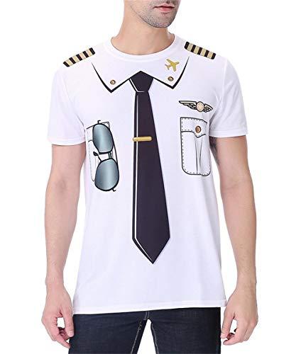 Cosavorock Pilot Kostüm Uniform T-Shirts Herren (AS:4XL, EUR:XXL, Weiß) (Pilot Uniform Kostüm)