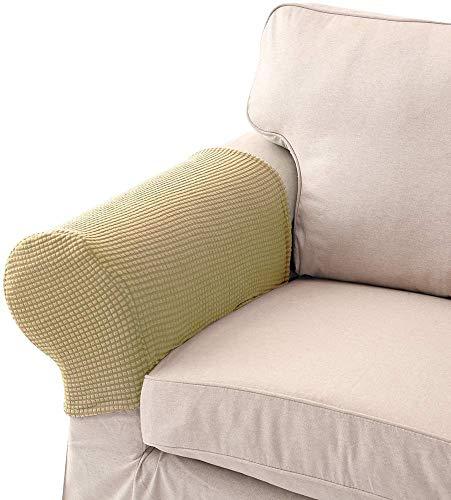 Wenyao fodera per bracciolo in tessuto elasticizzato per poltrona protettiva per mobili crema confezione da 4 (2 paia)