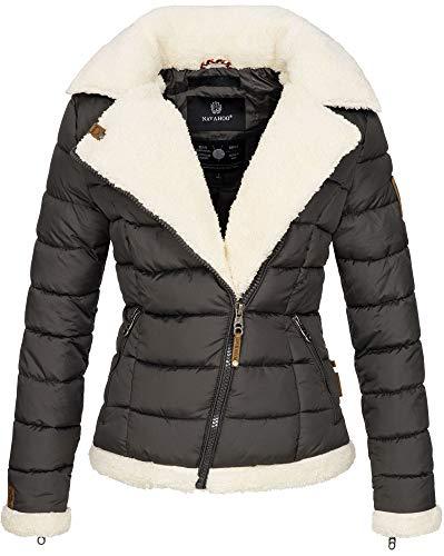 Navahoo Damen Designer Winter Jacke warme Winterjacke Steppjacke Teddyfell B652 [B652-Smooth-Anthrazit-Gr.XS]