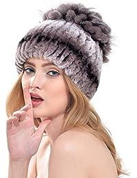 VEMOLLA Cappello Invernale per Donne a Righe Lavorato a Maglia in Pelliccia  di Coniglio Berretto a Fiori con Pelliccia… a6ae9a4f4bb2