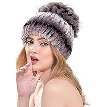 VEMOLLA Cappello Invernale per Donne a Righe Lavorato a Maglia in Pelliccia  di Coniglio Berretto a efb587dfa832