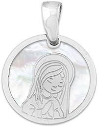 Medalla de Comunión niña en nácar y plata chapada en oro blanco