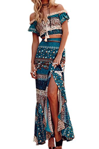 Damen 2 Stück Outfit Sommer Casual Schulterfrei Kurzarm Floral Boho Strand Crop Top und Rock Set blau M -