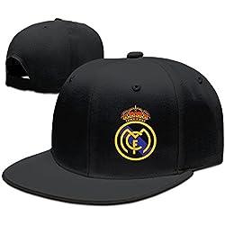 Runy Personalizado Real Madrid Club de F š² tbol Logo Sombrero y Gorra de béisbol Ajustable, Negro