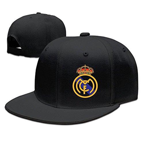 Runy Personalizado Real Madrid Club de F ¨² tbol Logo Sombrero y Gorra de béisbol Ajustable, Negro