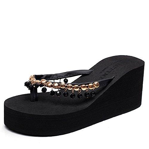 Cailin Sandals, Pantoufles épaisses d'été Pantoufles de plage à perles faites à la main Simples pantoufles antidérapantes (noir, beige, marron, gris) ( Couleur : 3.5cm-Gray , taille : EU38/UK5.5/CN38  7cm-Black