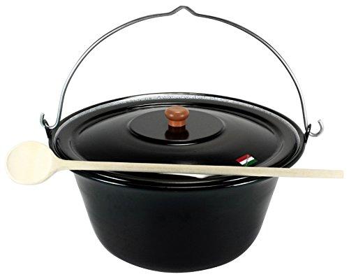 Grillplanet® ungarischer Gulaschkessel 10 Liter mit Deckel emailliert, Gulaschtopf Set