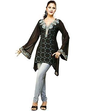 1545 Designs Mujer Pequeño Tamaño Negro Georgette top de la blusa