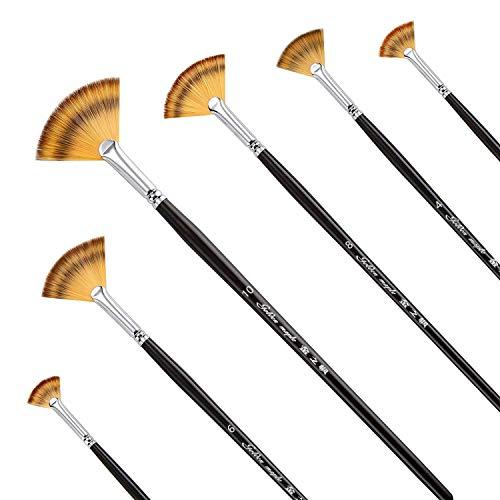 Set di pennelli a ventaglio da pittura, a manico lungo, per pittura con colori acrilici e a olio, setole di cinghiale, 6 pezzi.