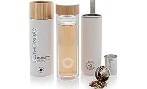 Teabloom Bottiglia Termica Multiuso – 0,45 L – Bambù Naturale e Vetro Temperato – Thermos da Viaggio – Borraccia per Tè, Caffè e Infusioni di Frutta – Pathfinder