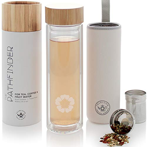 Teabloom Becher für alle Getränke - 0,45 l - Reiseflasche aus natürlichem Bambus und gehärtetem Glas - Teebereiter für kalten und heißen Tee - kalt aufgebrühter Kaffee - Wasser mit Fruchtaufguss - Alle Natürlichen Tee