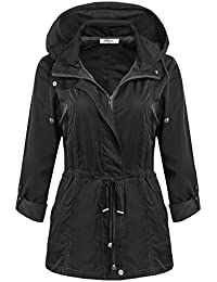 Meaneor Chaqueta Impermeable Mujer Rompevientos Deporte Manga Larga Talla Grande S-XXL