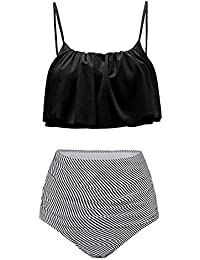 Summer Mae Damen Bikini Set Vintage Bademode Ruffles Strap Badeanzug