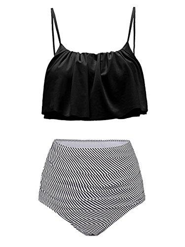 Summer Mae Damen Bikini-Set mit Volant Vintage Badeanzug, Gr.EU 44-46/XL, Schwarz
