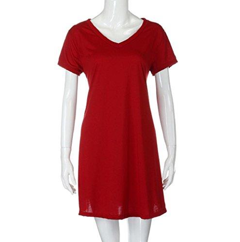Rosennie Damen Pullovers KleidO-Hals Strand Mini Kleid Rot