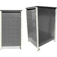 BBT@ | Hochwertige Mülltonnenbox für 1 Tonne mit 120 Liter mit Klappdeckel in Silber / Aus stabilem pulver-beschichtetem Metall / Stanzung 1 / In verschiedenen Farben sowie mit unterschiedlichen Blech-Stanzungen erhältlich / Mülltonnenverkleidung Müllboxen Müllcontainer