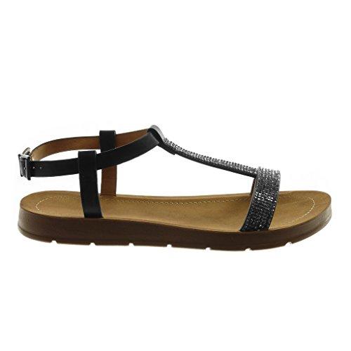 Angkorly Chaussure Mode Sandale Lanière Cheville Salomés Femme Strass Diamant Lanière Talon Compensé 2 cm Noir