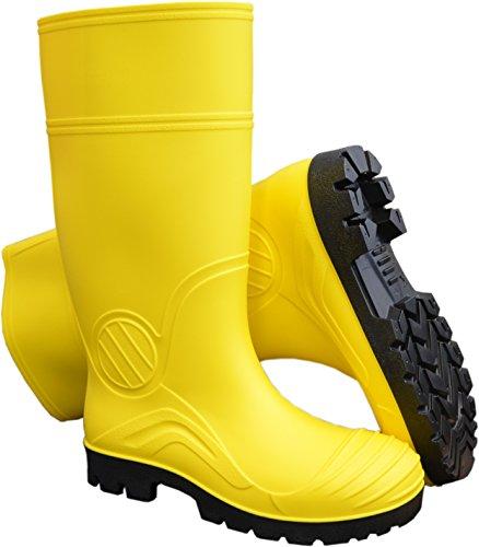 PVC Gummistiefel Regenstiefel Garten & Freizeit Stiefel Profilsohle vers. Farben-Yellow-44