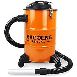 BACOENG Aspirateur à cendres avec système de filtration double, 1200 watt, 20L