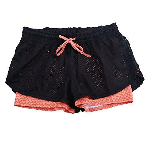 Vertvie Femme 2-en-1 Short de Sport Pantalons Courts Décontracté Cordon de Serrage pour Fitness Jogging Courses Orange