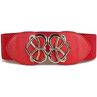 JIER Mujer Elástico de Corsé de Cintura de Hebilla Antigua de Corazon aleacion de Vintage Accesorios Cinturon de Cuero Estiramiento Ancho Cinturones Adecuado