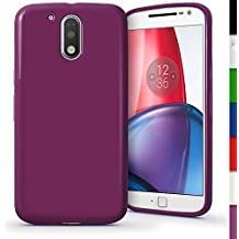 igadgitz Sólido Violeta Lustroso Funda Carcasa Gel TPU para Motorola Moto G 4ª Generación XT1622 (Moto G4) & Moto G4 Plus XT1644 Case Cover + Protector Pantalla