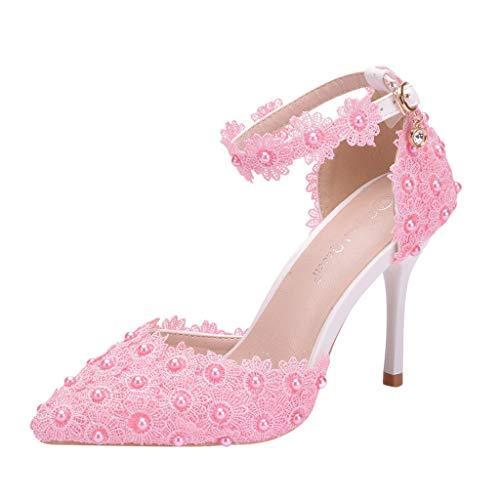 Sandalen Damen Sommer Omingkog Damenmode wilden Strass Hochzeit Stiletto Sandalen High Heels Schuhe Abendschuhe Elegant Für Frauen(Pink,77)