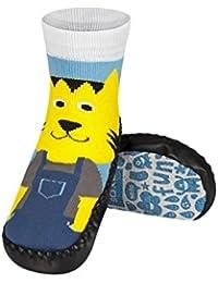 LION - Chaussons Chaussettes enfants semelle cuir antidérapant - BBKDOM