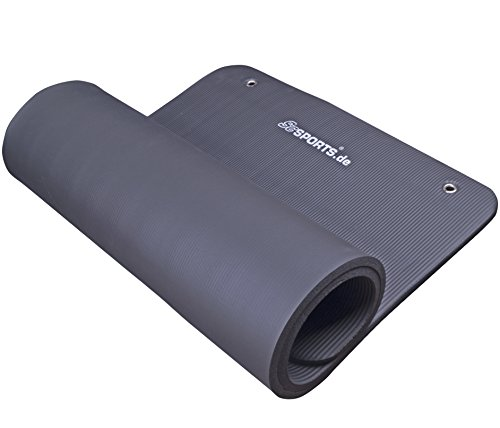 ScSPORTS Gymnastikmatte 185 x 80 x 1,5 cm, mit Ösen, schwarz