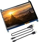 Touchscreen IPS da 7 pollici capacitivo 1024x600 HDMI Display Monitor di gioco per Raspberry Pi 4 con tastiera, custodia in pelle