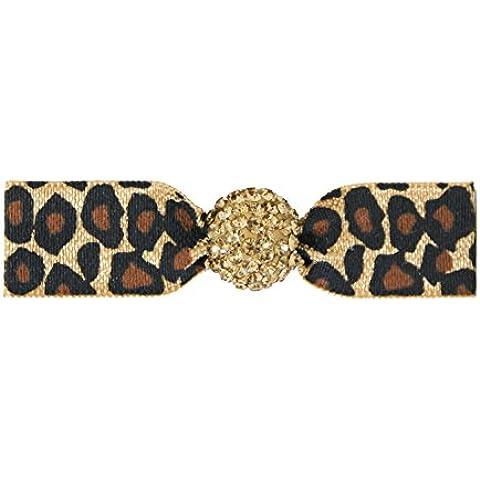 Emi Jay - elastico con perle di vetro con lucido, disegno del leopardo, beige