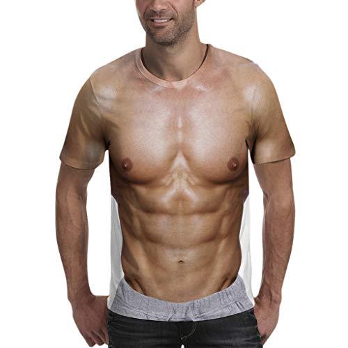 BHYDRY Herrenmode Freizeit 3D Muskel Kurzarm T-Shirt Bluse Top