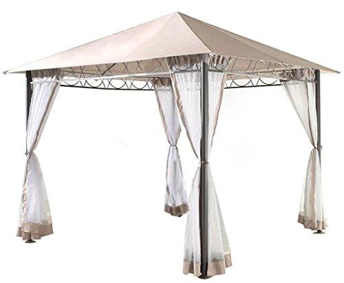 Grasekamp Stil Pavillon 3x3m mit Moskitonetz-Seitenteilen, sand