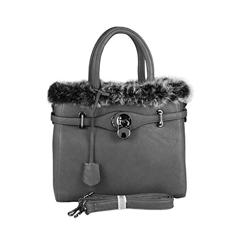OBC Only-Beautiful-Couture, Borsa a spalla donna marrone cognac ca.: 30x26x12 cm (BxHxT) grigio scuro