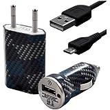 Seluxion - Chargeur maison + allume cigare USB + câble data CV04 pour Archos : 35 Carbon/ 40 Titanium/ 45 Helium 4G/ 45 Platinum/ 45 Titanium/ 50 Helium 4G/ 50 Oxygen/ 50 Platinum/ 50 Titanium/ 53 Platinum/ 53 Titanium
